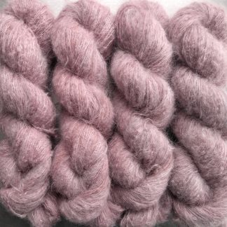Ash Rose - Pale grey-pink suri alpaca and silk luxury heavy laceweight yarn. Hand-dyed by Triskelion Yarn