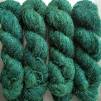 Estuary - Rich greens and blues suri alpaca and silk luxury heavy laceweight yarn. Hand-dyed by Triskelion Yarn