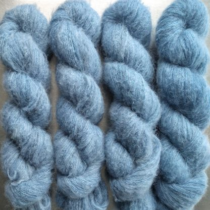 Horizon - Light sky blue suri alpaca and silk luxury heavy laceweight yarn. Hand-dyed by Triskelion Yarn