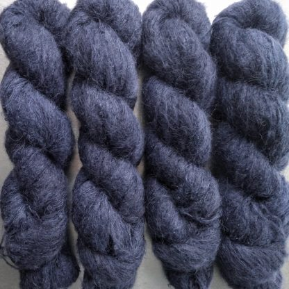 Penumbral - Dark navy suri alpaca and silk luxury heavy laceweight yarn. Hand-dyed by Triskelion Yarn