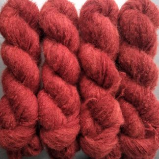 Rambutan - Dark vermilion red suri alpaca and silk luxury heavy laceweight yarn. Hand-dyed by Triskelion Yarn