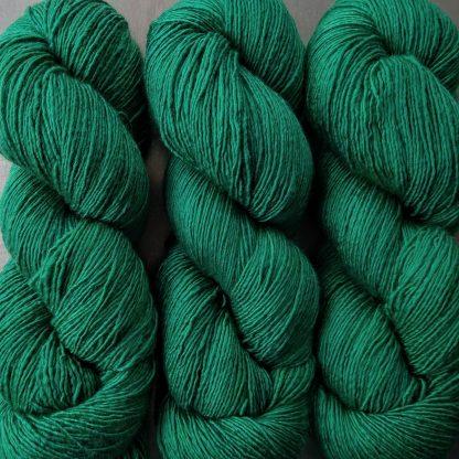 Weald - Deep forest green Falklands Merino and silk blend yarn. Hand-dyed by Triskelion Yarn.