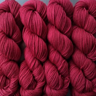 Chilli - Mid-tone red Baby Alpaca Silk & Cashmere double-knit yarn. Hand-dyed by Triskelion Yarn.