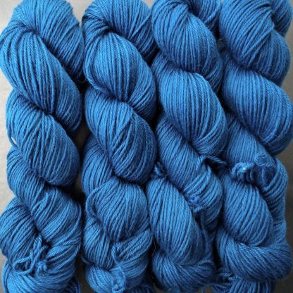Royal Blue - Mid-tone royal blue Baby Alpaca Silk & Cashmere double-knit yarn. Hand-dyed by Triskelion Yarn.
