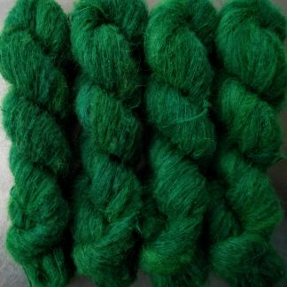 Emerald - Dark emerald green suri alpaca and silk luxury heavy laceweight yarn. Hand-dyed by Triskelion Yarn