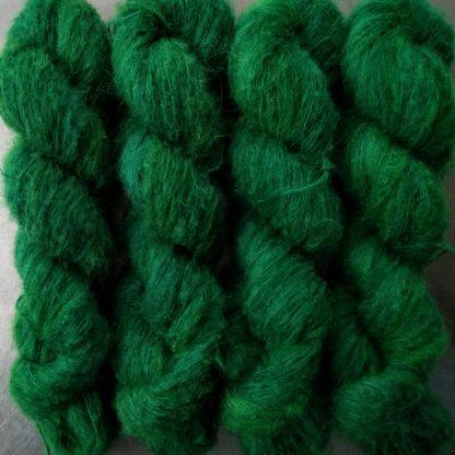 Emerald - Dark emerald green suri alpaca and silk luxury heavy laceweight yarn. Hand-dyed by Triskelion Yarn