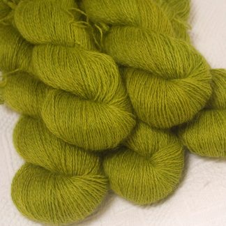 Frea - Light spring green hand-dyed Wensleydale DK/ Double Knit yarn. Hand-dyed by Triskelion Yarn