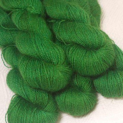 Gerda - Mid tone grassy green hand-dyed Wensleydale DK/ Double Knit yarn. Hand-dyed by Triskelion Yarn