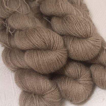 Pebble - Pale greyish brown hand-dyed Wensleydale DK/ Double Knit yarn. Hand-dyed by Triskelion Yarn