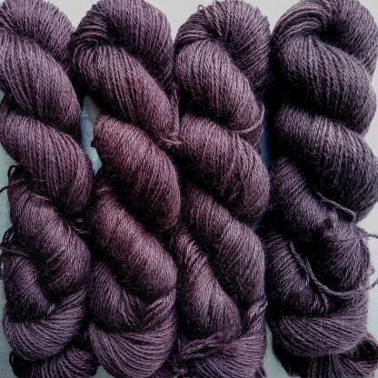 Landwight - Dark chocolate brown hand-dyed Wensleydale DK/ Double Knit yarn. Hand-dyed by Triskelion Yarn