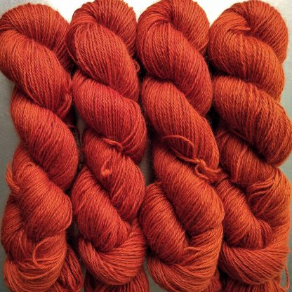 Sunburst - Bright mid- to dark orange hand-dyed Wensleydale DK/ Double Knit yarn. Hand-dyed by Triskelion Yarn