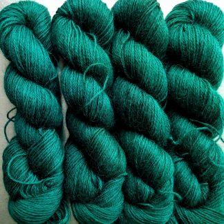 Wodwos - Dark bluish green hand-dyed Wensleydale DK/ Double Knit yarn. Hand-dyed by Triskelion Yarn
