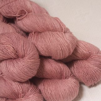 Ash Rose - Light greyish pink Falklands Merino and silk blend yarn. Hand-dyed by Triskelion Yarn.