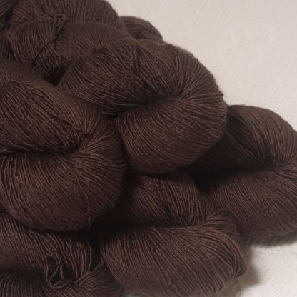 Landwight - Dark chocolate brown Falklands Merino and silk blend yarn. Hand-dyed by Triskelion Yarn.