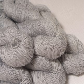 Rime - Pale silver grey Falklands Merino and silk blend yarn. Hand-dyed by Triskelion Yarn.