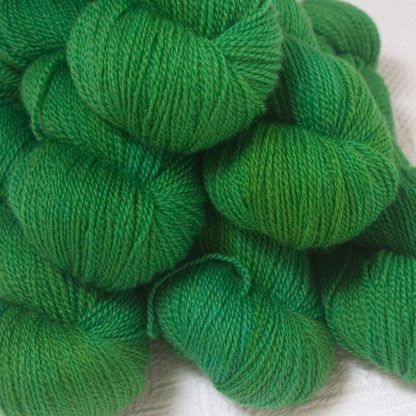 Bluefaced Leicester 4-ply / fingering weight yarn hand-dyed by Triskelion YarnsGerda - Mid tone grassy green
