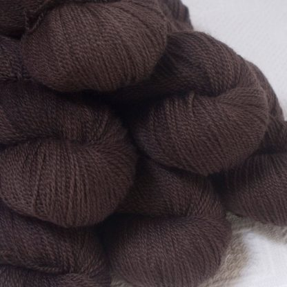 Landwight - Dark chocolate brown Bluefaced Leicester 4-ply / fingering weight yarn hand-dyed by Triskelion Yarns