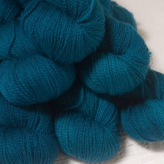 Llŷr - Deep petrol blue Bluefaced Leicester 4-ply / fingering weight yarn hand-dyed by Triskelion Yarns