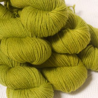 Frea - Light spring green Bluefaced Leicester DK (double knit) yarn hand-dyed by Triskelion Yarns