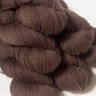 Landwight - Dark chocolate brown Bluefaced Leicester DK (double knit) yarn hand-dyed by Triskelion Yarns