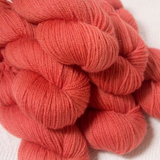 Reef - Mid-tone coral Bluefaced Leicester DK (double knit) yarn hand-dyed by Triskelion Yarns