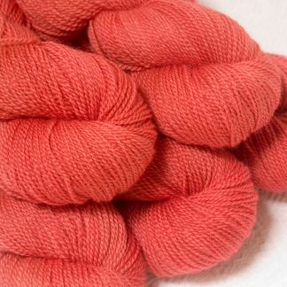 Reef - Mid-tone coral Bluefaced Leicester sport weight yarn hand-dyed by Triskelion Yarns