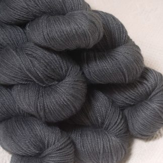 Charcoal - Charcoal grey Baby Alpaca Silk & Cashmere double-knit yarn. Hand-dyed by Triskelion Yarn.