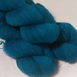 Llŷr - Deep petrol blue extra fine Falklands Merino 2-ply laceweight yarn hand-dyed by Triskelion Yarn