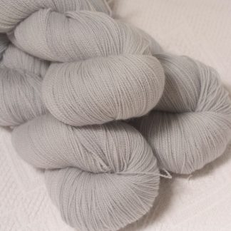 Rime - Pale silver grey extra fine Falklands Merino 2-ply laceweight yarn hand-dyed by Triskelion Yarn