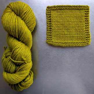 Kelp - Vibrant yellow green Bluefaced Leicester worsted weight yarn hand-dyed by Triskelion Yarn