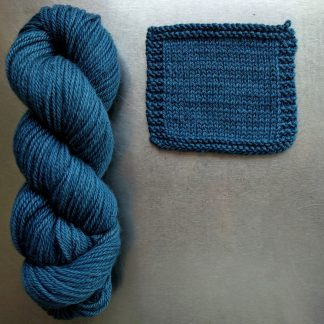 Offing - Mid tone sea blue Bluefaced Leicester worsted weight yarn hand-dyed by Triskelion Yarn