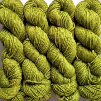 Kelp - Vibrant yellow green Baby Alpaca Silk & Cashmere double-knit yarn. Hand-dyed by Triskelion Yarn.