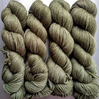 Marram - Mid tone dull bluish olive green Baby Alpaca Silk & Cashmere double-knit yarn. Hand-dyed by Triskelion Yarn.
