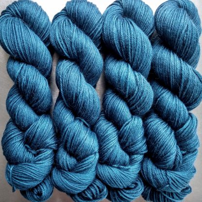 Offing - Mid tone sea blue Baby Alpaca Silk & Cashmere double-knit yarn. Hand-dyed by Triskelion Yarn.