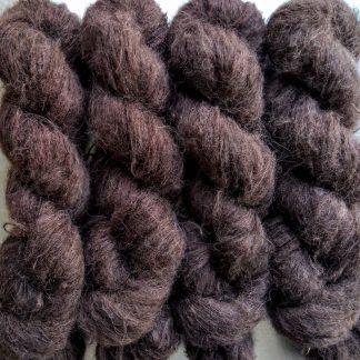 Cwrwgl - Dark cool brown suri alpaca and silk luxury heavy laceweight yarn. Hand-dyed by Triskelion Yarn
