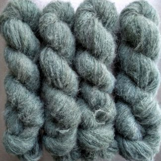 Intertidal - Pale seawater green suri alpaca and silk luxury heavy laceweight yarn. Hand-dyed by Triskelion Yarn