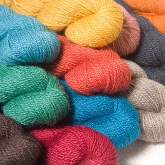 One-off colourways of Bluefaced Leicester / silk 4-ply yarn. Hand-dyed by Triskelion Yarn.