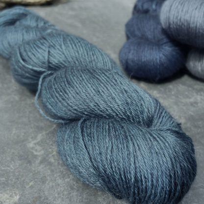 A Giant Turtle's Eyes - Dark grey-blue with a strong turquoise undertone baby alpaca 4-ply/fingering/sock yarn. Hand-dyed by Triskelion Yarn