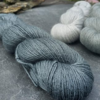 Endless Forms - Mid-toned grey with an aqua-green undertone baby alpaca 4-ply/fingering/sock yarn. Hand-dyed by Triskelion Yarn