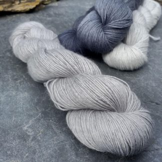Foggy Day - Cool light grey baby alpaca 4-ply/fingering/sock yarn. Hand-dyed by Triskelion Yarn