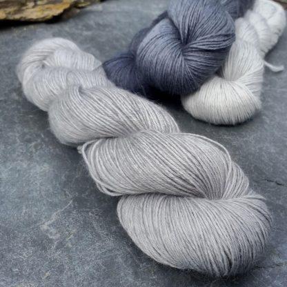 Foggy Day - Cool light grey baby alpaca 4-ply/fingering/sock yarn. Hand-dyed by Triskelion Yarn