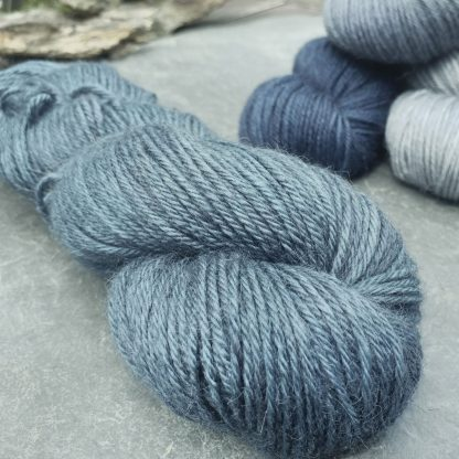 A Giant Turtle's Eyes - Dark grey-blue with a strong turquoise undertone baby alpaca double knit (DK) yarn. Hand-dyed by Triskelion Yarn