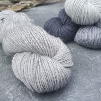 Foggy Day - Cool light grey baby alpaca double knit (DK) yarn. Hand-dyed by Triskelion Yarn