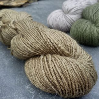 baby alpaca double knit (DK) yarn. Hand-dyed by Triskelion YarnHerb – Light to mid-toned olive green