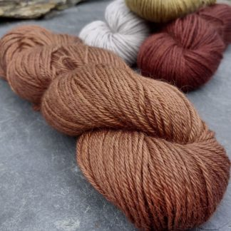 My Foxy Darling - Mid-toned rusty, foxy orange-brown baby alpaca double knit (DK) yarn. Hand-dyed by Triskelion Yarn