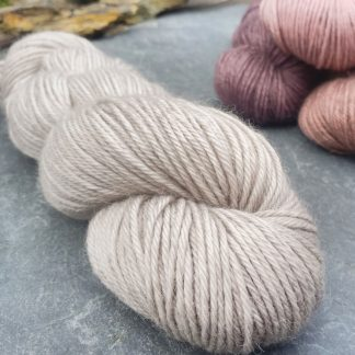Pascal – Very light warm grey baby alpaca double knit (DK) yarn. Hand-dyed by Triskelion Yarn