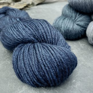 Penumbral - Rich navy with a royal blue undertone baby alpaca double knit (DK) yarn. Hand-dyed by Triskelion Yarn