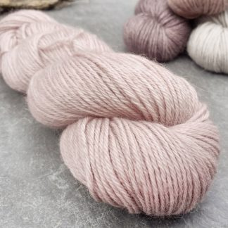 Rhosyn – Soft, dusty pink, on the rose side baby alpaca double knit (DK) yarn. Hand-dyed by Triskelion Yarn