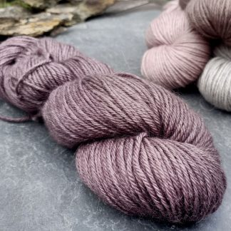 Shade – Mid- to dark toned rose taupe baby alpaca double knit (DK) yarn. Hand-dyed by Triskelion Yarn