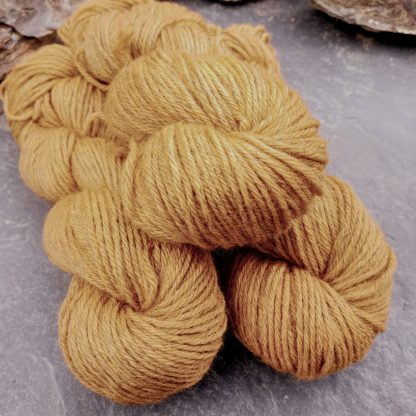 Anemone - Light orange with a yellow undertone Bluefaced Leicester (BFL) / Gotland aran weight yarn. Hand-dyed by Triskelion Yarn
